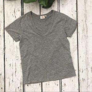 Adriano Goldschmied Grey Vneck Short Sleeve Tshirt
